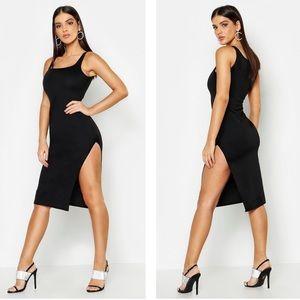 Boohoo Black Thigh Split Bodycon Midi Dress NWT